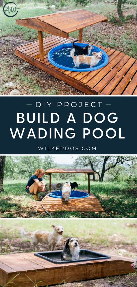 This set of building plans cover all of the steps and materials needed to re-create my shaded dog pool design I created for my. Planer Cover, Dog Backyard, Dog Friendly Backyard, Dog Playground, The Plan, Dog Rooms, Animal Projects, Diy Stuffed Animals, Dog Friends