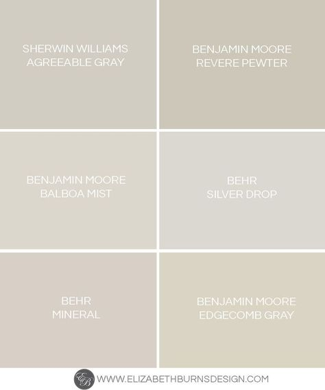 Elizabeth Burns Design | Greige Paint Colors - the perfect warm gray paint colors: Sherwin Williams Agreeable Gray, Benjamin Moore Revere Pewter, Benjamin Moore Balboa Mist, Behr Silver Drop, Behr Mineral, Benjamin Moore Edgecomb Gray