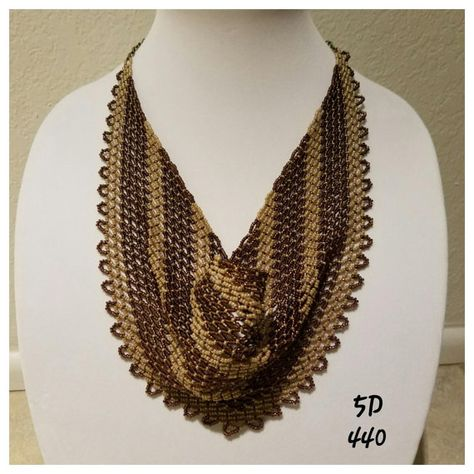 Chevron Beaded Netted Scarf Pattern Thin Lines by DMDesignsByDeona