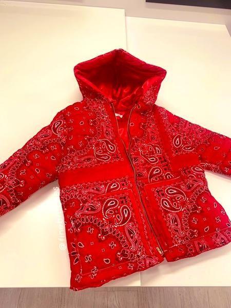 Red Bandana Puffer Jacket V2 In 2020 Red Bandana Puffer Jackets Jackets