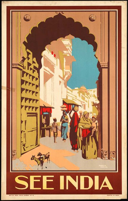 """24x36 1935 Vintage Style Travel Poster /""""See India/"""" Tranvancore State"""