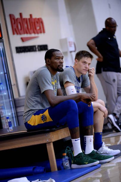 Kevin Durant Jonas Jerebko Of The Golden State Warriors Look On Kevin Durant Golden State Warriors Warrior