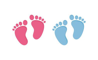 Baby Footsteps Vector Illustration Set Pairs Of Pink And Blue Footprints In Flat Style Sponsored Flower Phone Wallpaper Feet Drawing Baby Illustration