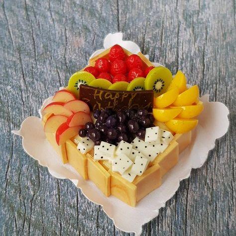 Vanilla Waffle Mix Fruit Dollhouse Miniatures Food Bakery Pastries Dessert Sweet
