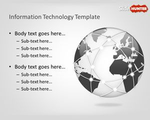 it powerpoint template with globe illustration in the slide design, Modern powerpoint