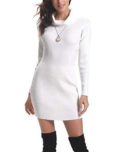 Aibrou Robe Pull Femme /à Manches chauve-souris Pull Dress Col Rond Chic Casual Pullover Elegant Robe Mi-Longue en Tricot/é Automne Hiver