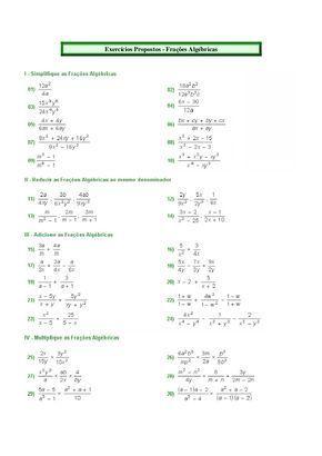 Exercicios Propostos Fracoes Algebricas Fracao Matematica