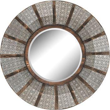 Elk Group International 172 001 Sterling Pierced Metal Mirror Contemporary Mirrors Deep Discount Lighting Wood Wall Mirror Wood Mirror Round Wall Mirror