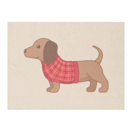 Dachshund Wiener Dog Red Sweater On Beige Fleece Blanket Zazzle