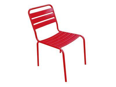 Chaise de jardin en métal 46x62xH.84cm MONTSOURIS Rouge | pesage en ...