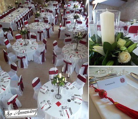 Decoration Mariage Rouge Bordeaux Et Blanc