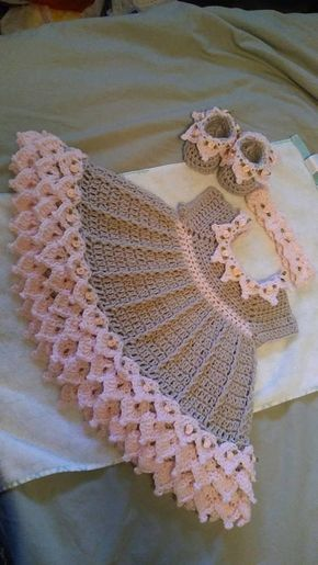 Crochet pink and gray baby dress set with rosebuds comes with