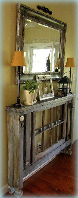 DIY narrow foyer table, great for those narrow hallways, like leading to garage.  U could make it to go over a heating register. Or simply change the length to fit the space where you want to put it..then do the decorating to fit the new scale of things.