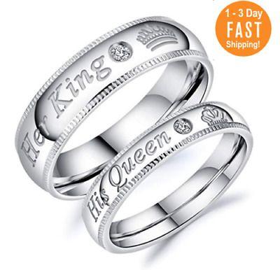 grabado Anillo de amistad alianza acero inoxidable con diamante compromiso anillo de bodas anillo de pareja boda