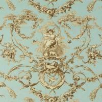 Franzцsischer Vorhang  und Polsterstoff Ludivine bleu   METERWARE