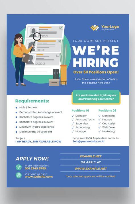 Advertisement Company Job Hiring Flyer Template AI, EPS, PSD