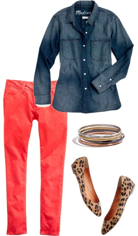 Chambray + coral + leopard - need to remember this with my skinnies and chambray shirt. Just need leopard flats.