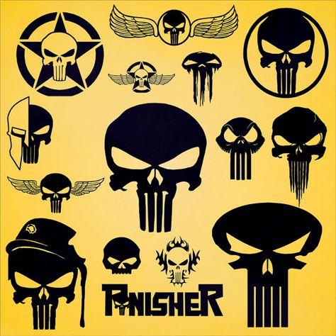 16 Punisher Skull Vector Art Eps Dxf Svg Png In 1 Zip File Punisher Artwork Punisher Art Punisher Skull
