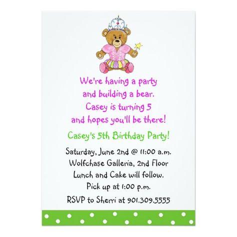 Build A Bear Birthday Invitation Wording Best Bear - Birthday invitation wording turning 5