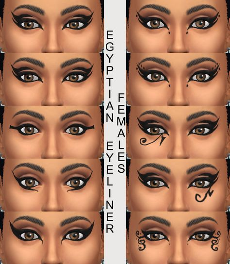 Good resource for types of eyeliner. Source: 10 Egyptian Eyeliners by Simmiller at Mod The Sims via Sims 4 Updates Egyptian Eye Makeup, Egypt Makeup, Cleopatra Makeup, Egyptian Party, Cleopatra Costume, Egyptian Costume, Greek Makeup, Egyptian Era, Medusa Costume