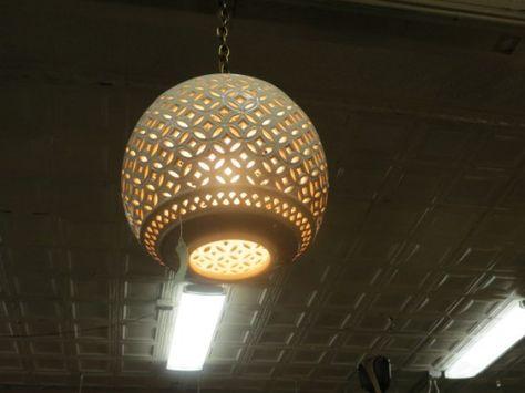 Vintage mid century modern ceramic pierced carved ball chandelier vintage mid century modern ceramic pierced carved ball chandelier 139 chandeliers pinterest modern ceramics chandeliers and mid century modern aloadofball Images