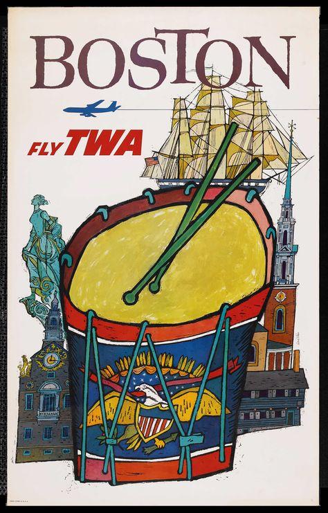 Boston, TWA Travel Poster, 1960s: Design by David Klein