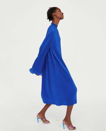 Micro Pleated Long Dress Zara Canada Zara Dresses Womens Maxi Dresses Long Dress