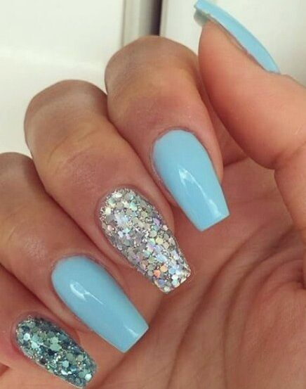 Sky Blue Nails With Glittery Nail Finger Nailart Summer