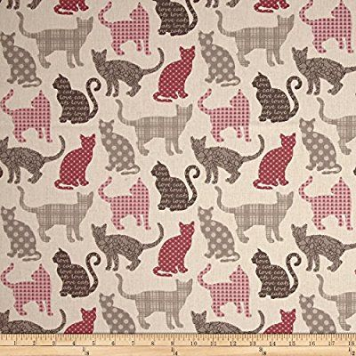 Chipie rouge fabric with cute cats STOF France KNITS France Soft Cat fabric STOF France