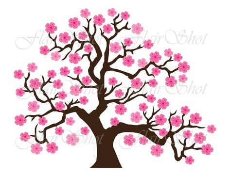 Digital Clip Art Pink Cherry Blossom Tree Clipart Bonsai Tree Clipart Instant Download Tree Drawing Rainbow Art Blossom Trees