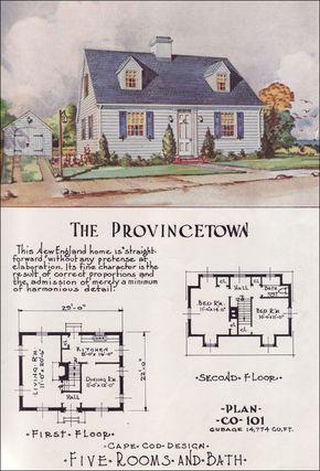Tiny Cape Cod Center Hall Mid Century Cottage Style Nationwide House Plan Service The Provincetown Cottage Style House Plans Cape Cod Kitchen Cape Cod Style House