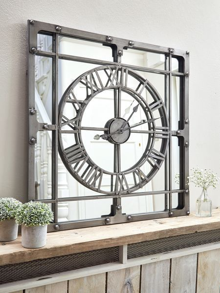 Large Loft Style Mirror Clock Nordichouse Giftsforhim