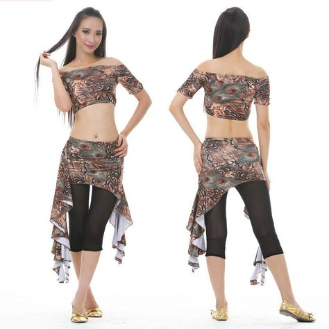 2018 New Women Lace Summer Belly Dancing Costumes Set 2Pics Backless Top/&Skirt