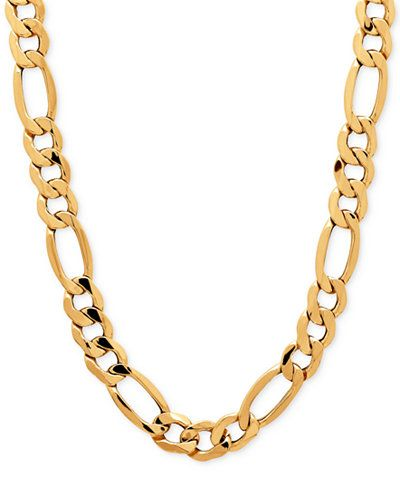 Figaro Style Gold Chain Available In 10k 14k 18k From 16 30 Length Wholesale Prices Gold Chains For Men Mens Silver Necklace Chains For Men