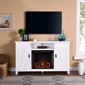 Adderly Electric Fireplace Tv Stand In White Fe9336 Fireplace