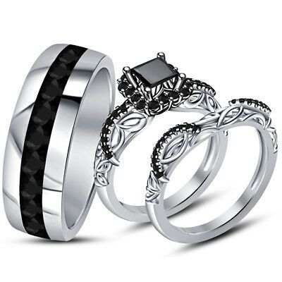 Ebay Ad 14k White Gold Fn Princess Round Black Diamond His Her Trio Engagement Ring Set In 2020 Black Wedding Rings Round Diamond Wedding Rings Black Diamond Ring