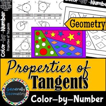Properties Of Tangents Color By Number Geometry Circles With