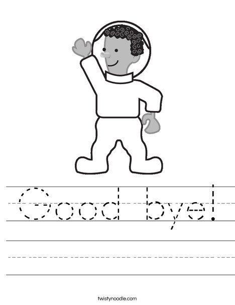 Good Bye Worksheet Twisty Noodle English Worksheets For Kids English Activities Worksheets