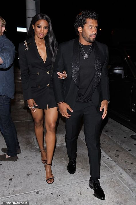Ciara turns heads in black blazer dress as she enjoys dinner with her husband Russell Wilson Dinner Date Outfits, Night Club Outfits, Couple Outfits, Dress Outfits, Woman Outfits, Midi Dresses, Club Dresses, Ciara Style, Ciara And Russell Wilson
