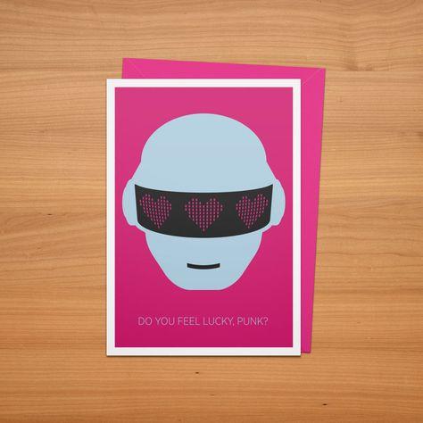 Daft Punk Valentine's Day card.  Download the PDF here: http://www.bradellis.me/art/cards2014/GetLuckyCard.pdf