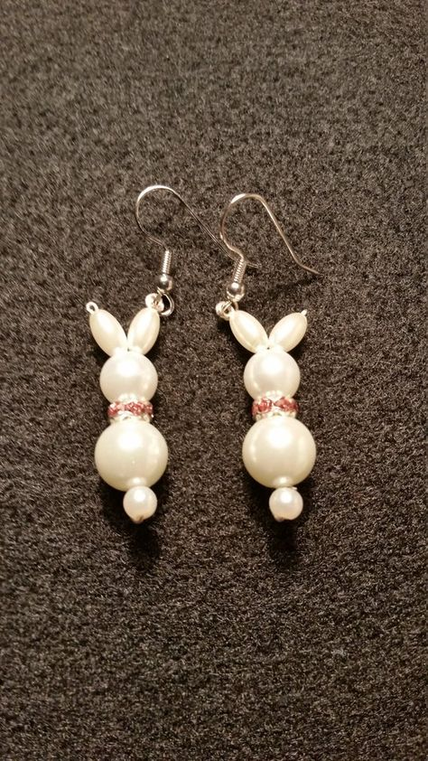 Easter Rabbits bunny cute glass pearl earrings with a pink rhinestone rondelle scarf family pets pet lovers holidays handmade unique girly