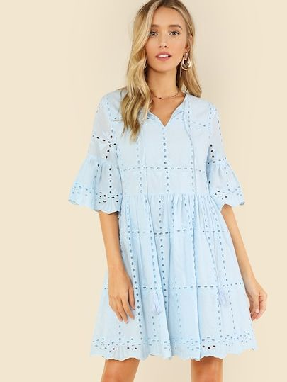 9389be91eafe Shop Tassel Tie Neck Eyelet Embroidered Smock Dress online. SheIn ...