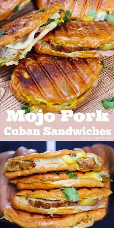 Mojo Pork Cuban Sandwiches Ev's Eats is part of fitness - Classic Cuban sandwiches with mojo pork, crispy ham, dill pickles, and lots of mustard! Make these sandwiches in no time! Pork Recipes, Mexican Food Recipes, Cooking Recipes, Panini Recipes, Cooking Pasta, Cooking Pork, Cooking Turkey, Kubanisches Sandwich, Cuban Pork Sandwich