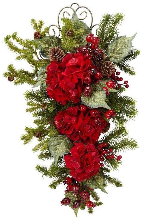The Holiday Aisle Christmas Hydrangea Tinsel & Tree Garland