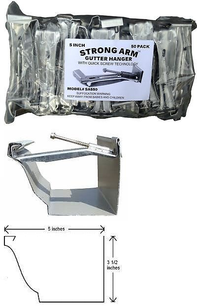 Building And Repair Materials 42338 Quick Screw 5 50 Pack Heavy Duty Hidden Rain Gutter Bracket Hook Hangers With Buy It Now Onl Rain Gutters Gutter Repair