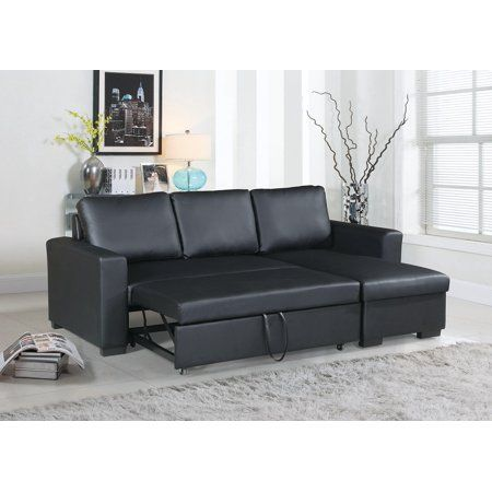 Convertible Sectional Sofa Small Family Living Room Furniture Black Faux Leather Pull Out Bed Sofa Storage Chaise Accent T Leather Sectional Sofas Sectional Sofa Sectional Sleeper Sofa