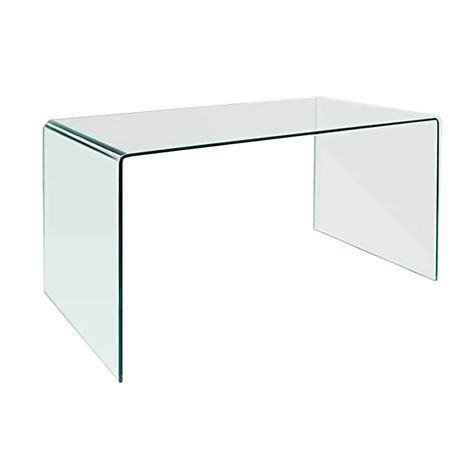Creative Images Bent Clear Glass Office Desk Table In 2020 Glass