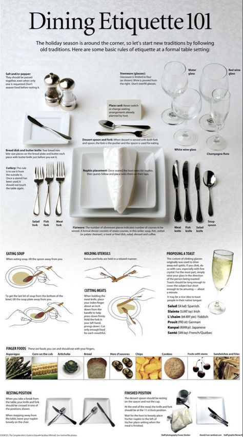 Memorable Prom Tips-Memorable Prom Tips Etiquette 101 for fancy dinner tables and tablescapes. Memorable Prom Tips – etiquette, manners, style, dinner and more - Table Setting Etiquette, Dining Etiquette, Table Settings, Etiquette Dinner, Setting Table, Place Settings, Table Presentation, Cena Formal, Prom Tips