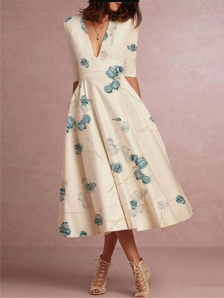 Shop Dress Weiss V Neck Elegant Kleid Online Discover Unique Designers Fashion Auf Loovincy Com Kleider Elegante Kleider Kleider Mode
