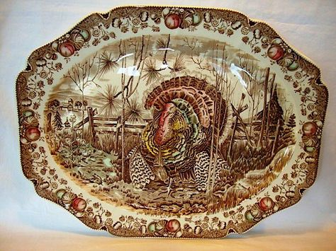 """Wonderful Turkey Platter ~ 20 ¼"""" """"His Majesty"""" ~ Johnson Brothers ... This is on my Thanksgiving table."""